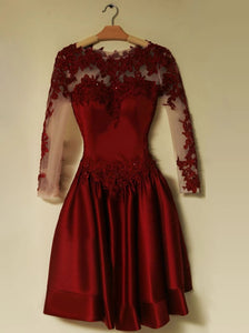 A Line Jewel Long Sleeves Short Dark Red Lace Open Back Prom Homecoming Dress