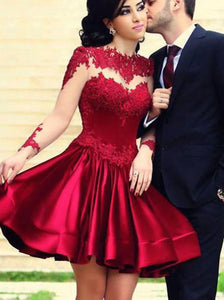 A Line Jewel Long Sleeves Short Dark Red Lace Prom Homecoming Dresses