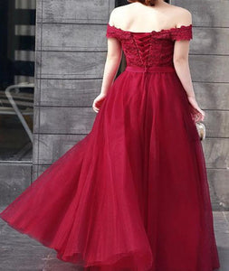 A Line Off The Shoulder Tulle Appliques Sleeveless Prom Dresses