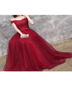 A Line Off The Shoulder Tulle Appliques Ribbon Floor Length Prom Dresses