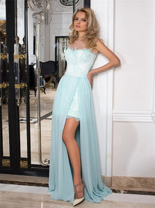 Spaghetti Straps Lace Chiffon Prom Dresses with Sweep Train Detachable