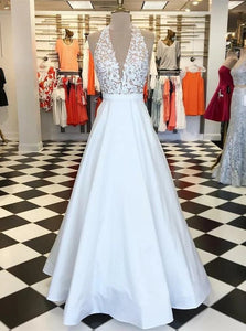 A Line V Neck Stain White Sweep Train Prom Dress with Appliques Pockets