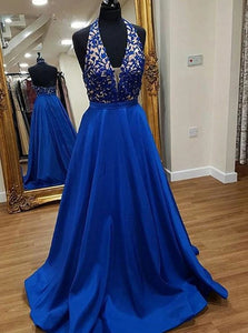 A Line V Neck Blue Stain Prom Dress with Appliques Pockets