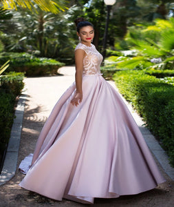 Ball Gown Scoop Satin With Appliques Cap Sleeves Prom Dresses