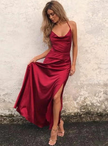 A Line Scoop  Red Elastic Satin Criss Cross Prom Dresses with Split