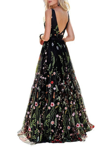 A Line V Neck Sweep Train V Back Black Tulle Prom Dress with Appliques
