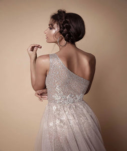 One Shoulder Tulle Sequins With Slit Prom Dresses LBQ0315