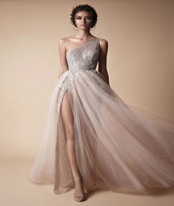 One Shoulder Tulle Sequins With Slit Prom Dresses