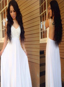 A Line Spaghetti Straps Backless Chiffon Sweep Train Prom Dresses With Appliques