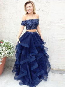 A Line Two Pieces Off the Shoulder Tulle Prom Dresses With Beadings