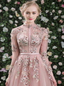 A Line Pink Chiffon Long Sleeves Prom Dresses