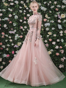 A Line Pink Chiffon Long Sleeves Appliques Open Back Prom Dresses