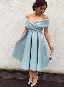 Off The Shoulder A Line Satin Pleats Prom Dresses With Tea Length