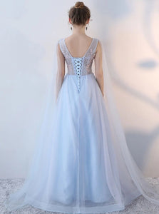 Blue A Line Scoop Appliques Lace Up Tulle Sleeveless Prom Dresses