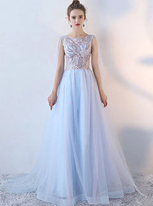 Blue A Line Scoop Appliques Lace Up Tulle Prom Dresses