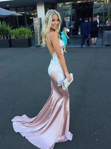 Pearl Pink Sheath Backless Appliques Sleeveless Prom Dresses