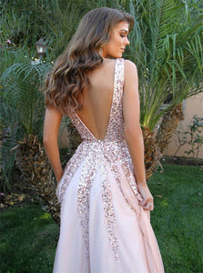 Deep V Neck Floor Length Pink Tulle Backless Prom Dress with Sequins