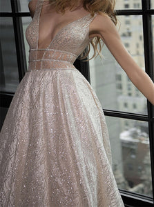 A Line Deep V Neck Sweep Train Silver Open Back Prom Dress