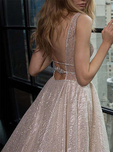 Silver Sequin Open Back Prom Dresses