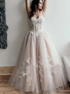 Sweetheart Tulle and  Lace A Line Lace Up Prom Dresses