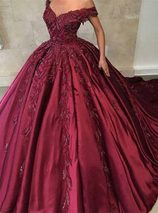 Off The Shoulder Ball Gown Appliques Prom Dresses Satin Sweep Train