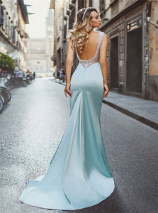Sweep Train Light Blue Stretch Satin Open Back Beadings Prom Dress