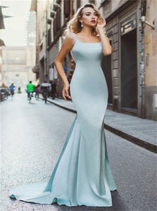 Mermaid Scoop Light Blue Stretch Satin Open Back Beadings Prom Dresses