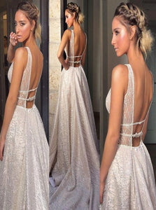Chic Silver V Neck Beadings Sleeveless Prom Dresses