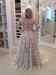A Line Long Sleeves Lace With Appliques Prom Dresses