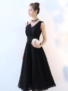 A Line Straps Tea Length Lace One Spaghetti Strap Prom Dresses
