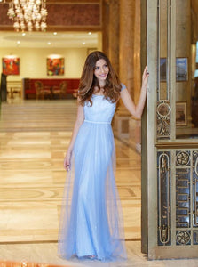 A Line Scoop Floor Length Tulle Blue Short Sleeves Prom Dresses