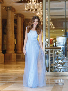 A Line Scoop Floor Length Tulle Blue Prom Dresses