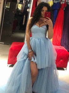 A Line Sweetheart Tulle Blue Sleeveless Prom Dresses With Sweep Train