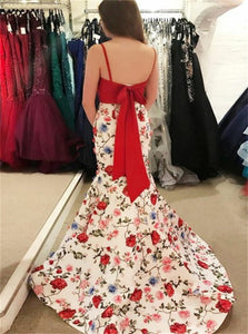 Mermaid Spaghetti Straps Printed Satin Bowknot Sweep Train Prom Dresses