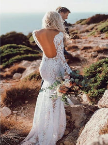 Backless V Neck Lace Sweep Train Beach Bridal Gown