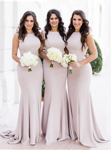 Mermaid Scoop Satin Pink Bridesmaid Dresses