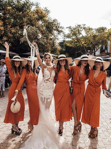 A Line Floor Length Chiffon Bridesmaid Dresses with Slit