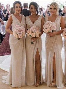 Champagne Bridesmaid Dresses with Sweep Train
