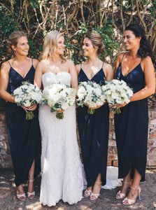 Dark Navy Spaghetti Strap Asymmetrical Bridesmaid Dresses