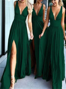 A Line Sweep Train Bridesmaid Dresses with Pleats