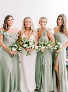 A Line V Neck and Sage Green Chiffon Bridesmaid Dresses