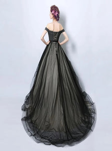 Ball Gown Off the Shoulder Tulle Lace Up Floor Length Prom Dresses