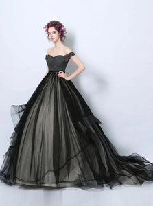 Ball Gown Off the Shoulder Tulle Lace Up Prom Dresses