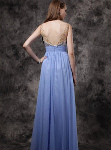 Lavender Chiffon A Line Straps Sequins Sleeveless Prom Dresses