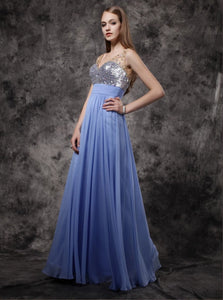 Lavender Chiffon A Line Straps Sequins Prom Dress with Rhinestones