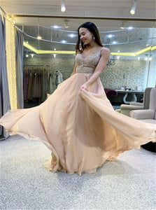 A Line Spaghetti Straps Champagne Chiffon Prom Dress with Beadings