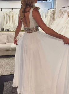 A Line V Neck Chiffon Beadings Open Back Prom Dresses