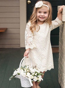 3/4 Sleeves Scoop Above Knee Flower Girl Dresses