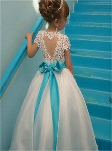Cap Sleeves Beaded White Organza Flower Girl Dresses With Lace