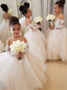 Ball Gown Long Sleeves Pink Flower Girl Dresses